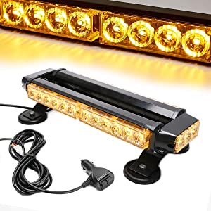 LE-JX Amber 30 LEDs Safety Strobe Flashing Light Bar Double Side High Intensity Roof Top Plow Flash Traffic Advisor Emergency Hazard Warning Lighting Mini Beacon with Magnetic Base (Yellow,12V/30W)