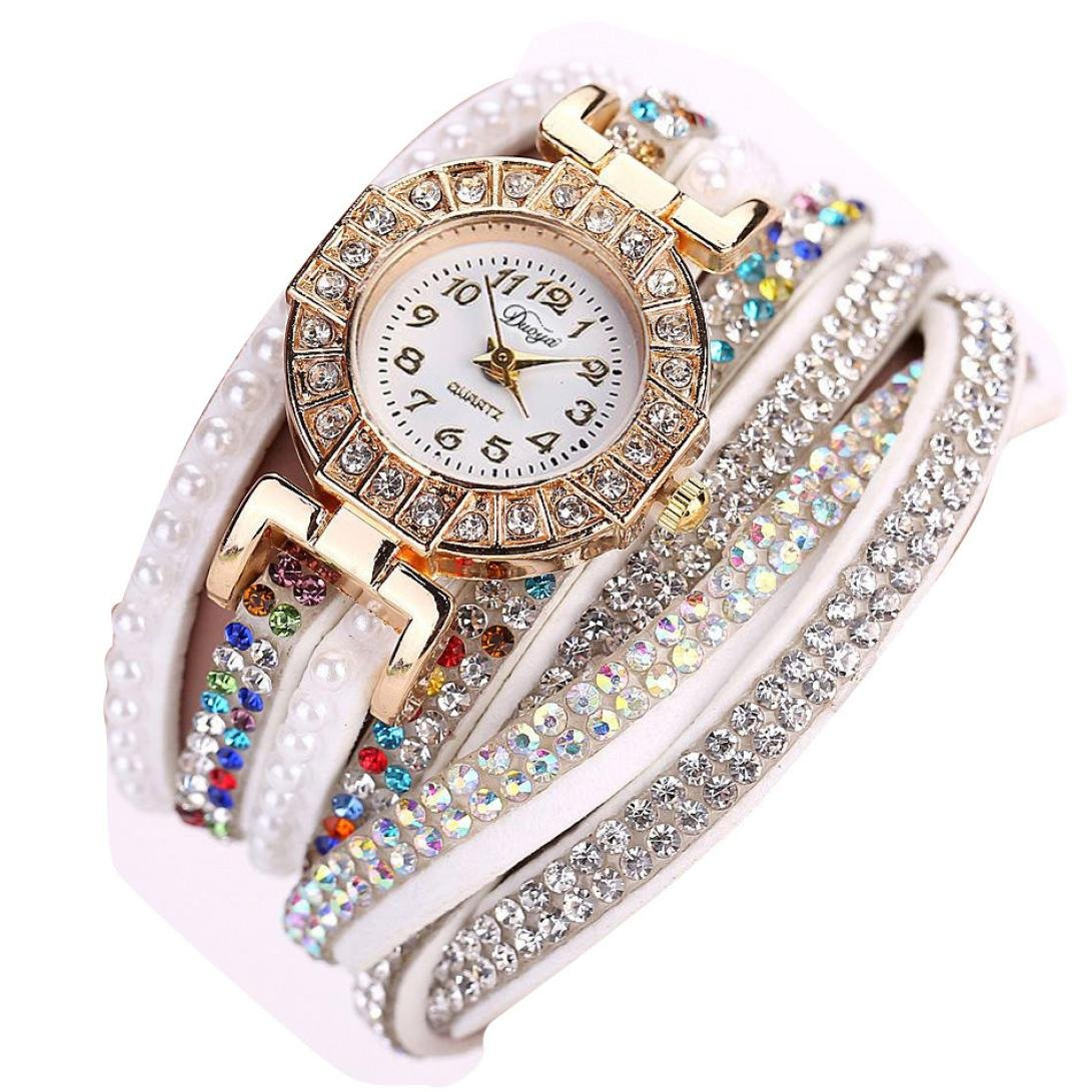 Hunputa® Ladies Watch Women Pearl Scale Bracelet Quartz Wristwatch Crystal Diamond Clock Women Dress Watch (White)