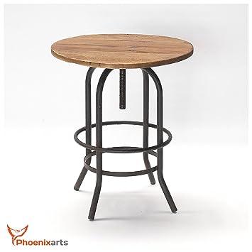 Phoenixarts Vintage Table de Jardin Ronde en Bois d\'Ulmental recyclé ...