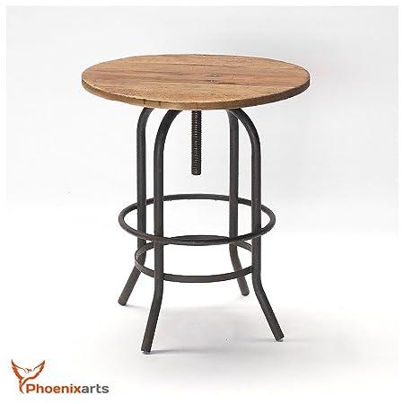 Tavoli Da Giardino Vintage.Phoenixarts Tavolo Da Giardino Rotondo In Legno D Olmo