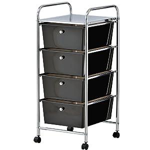 VonHaus 4 Drawer Storage Trolley | Home Office Supplies or Make-up & Beauty Accessories | Black