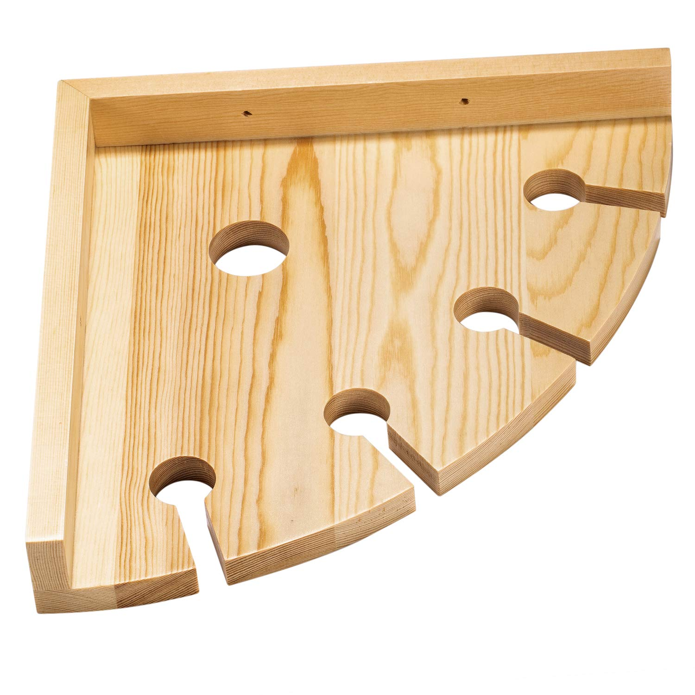 LIANTRAL Rustic Wood Wall Mounted Wine Rack Holder Corner Shelf for Wine Bottles and 4 Stemware Glasses