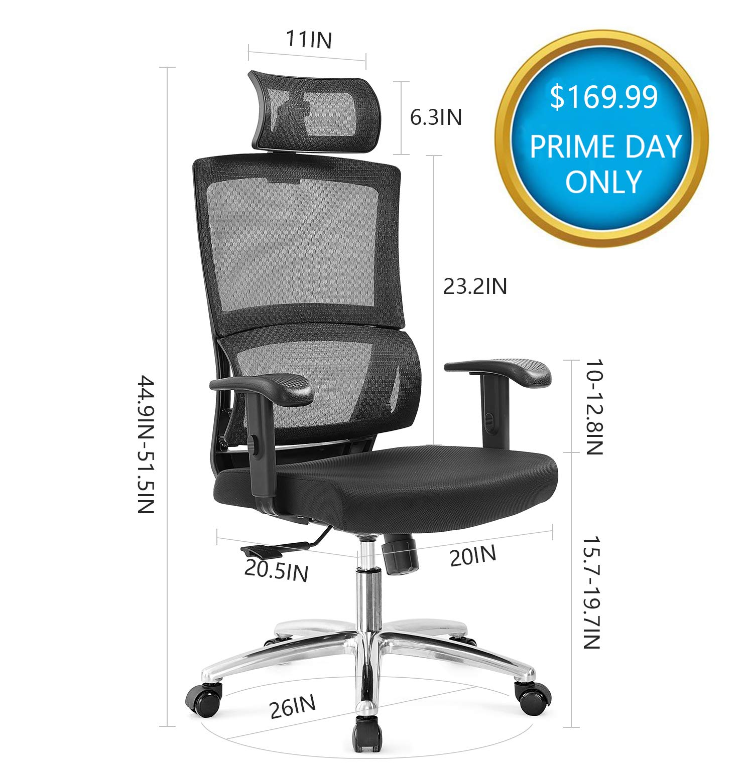 Ticova Ergonomic Office Chair with Unique Elastic Ring Lumbar Support and Thick Seat Cushion- High Back Mesh Chair with Adjustable Headrest and Armrest - Reclinable Computer Desk Chair by Ticova (Image #7)