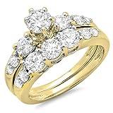 1.80 Carat (ctw) 14K Gold Round Diamond Ladies 3 Stone Bridal Engagement Ring Matching Band Set