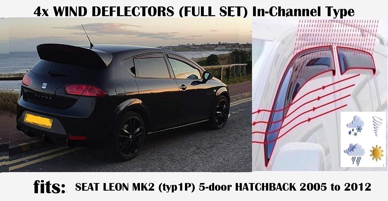 OEM Lot de 4 d/éflecteurs dair compatibles avec Seat Leon MK2 5 portes hayon 2005 2006 2007 2008 2009 2010 2011 2012 en verre acrylique TYP 1P