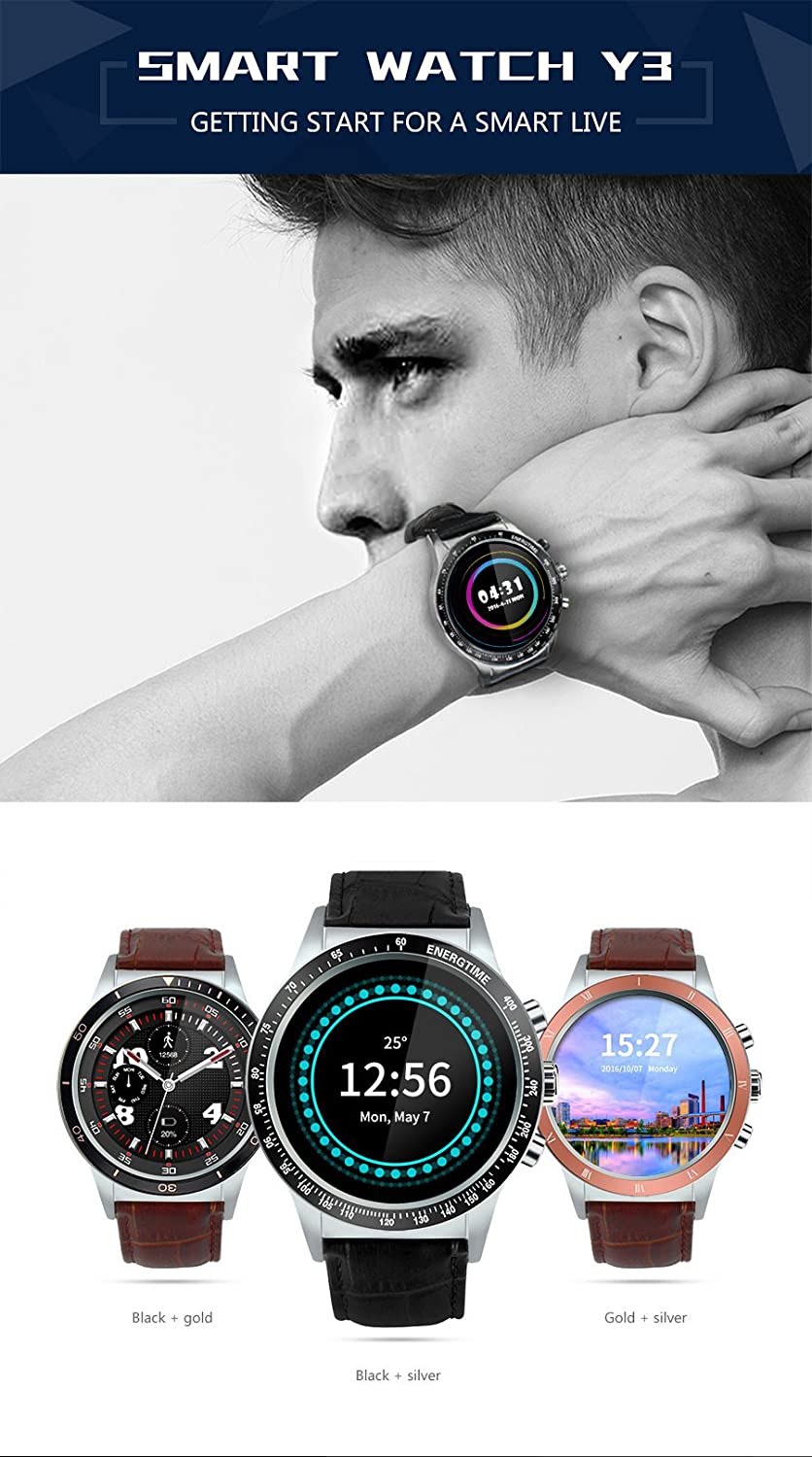 Amazon.com: ⌚ LEMFO Y3 The King - Android 5.1 Smart Watch with SIM Slot Waterproof Bluetooth GPS # Man/Woman (Silver and Black): Cell Phones & Accessories