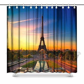 Gold Eiffel Tower Fabric Shower Curtain Set Black White Striped Bathroom Liner