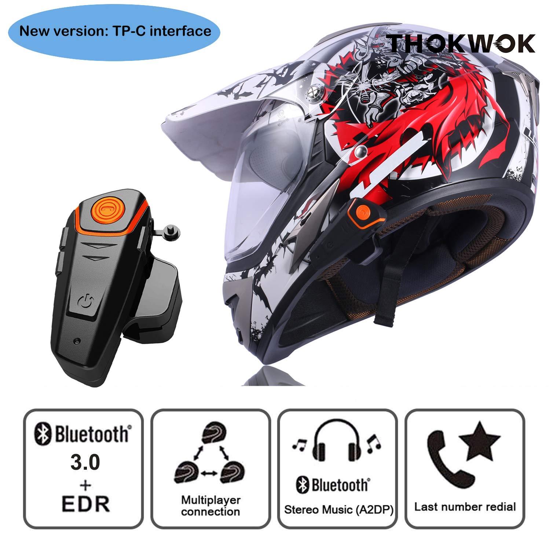 Thokwok Intercom Moto Bluetooth BT-S2 Oreillette Bluetooth pour GPS Moto Kit Main Libre pour Casque Moto Ski 1000m Interphone sans Fil