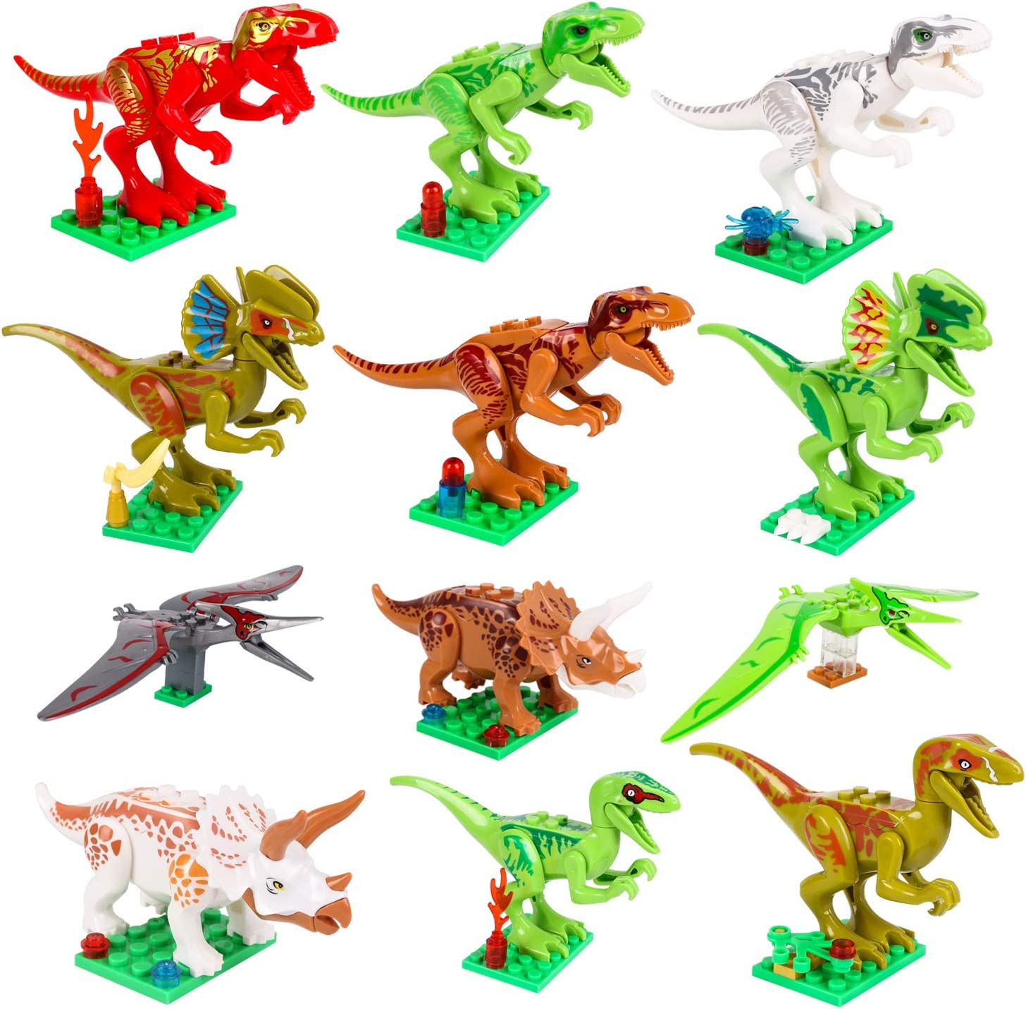 STSTECH Mini Dinosaur Toy Playset,DIY Dinos Building Block Action Figures,Educational Gift for Kids Pack of 12