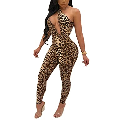 1b06705e00d AllForYou Women s Jumpsuit Sexy Leopard Sleeveless Bodycon Long Playsuit  Party Cocktail Clubwear  Amazon.co.uk  Clothing