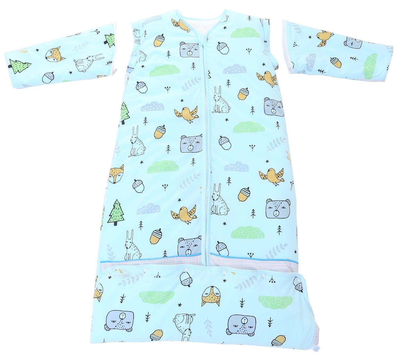 M//Koerpergroesse 70-100cm, Blau Tiere Chilsuessy Winter 2.5 Tog Kinder Schlafsack mit abnehmbaren /Ärmeln Bio Babyschlafsack f/ür Jungen und M/ädchen von 1 bis 10 Jahre alt