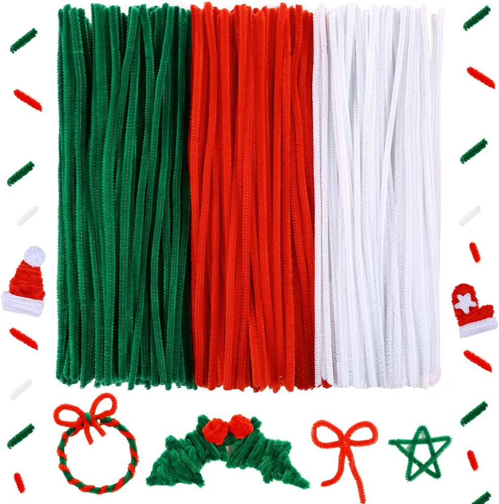Caydo 300 Pieces 12 inch Christmas Pipe Cleaners for Christmas DIY Red, Green, White Creative Crafts Decorations