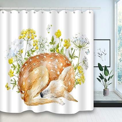 NYMB Watercolor Deer Shower Curtain Flowers And Elk Animals On White Backdrop Mildew Waterproof