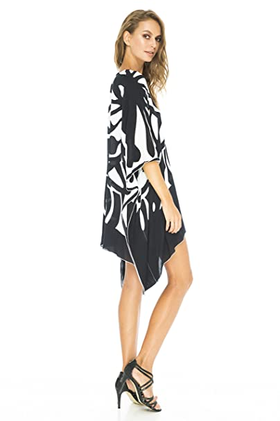 a999b61278 Back From Bali Womens Loose Beach Dress Cover up Short Poncho Butterfly  Black at Amazon Women's Clothing store: