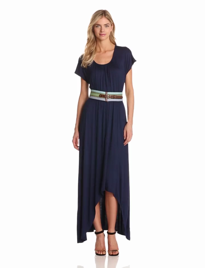 AGB Womens Maxi Dress With Styled Belt
