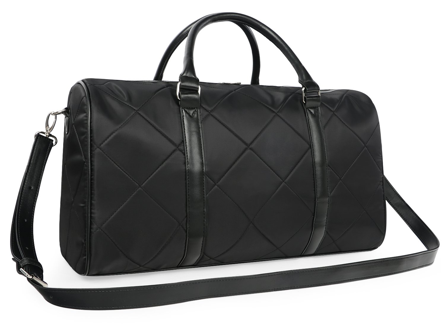 Oflamn Quilted Duffle Bag Weekender Overnight Travel Carry On Bag Black (Black) OFDU302BLA