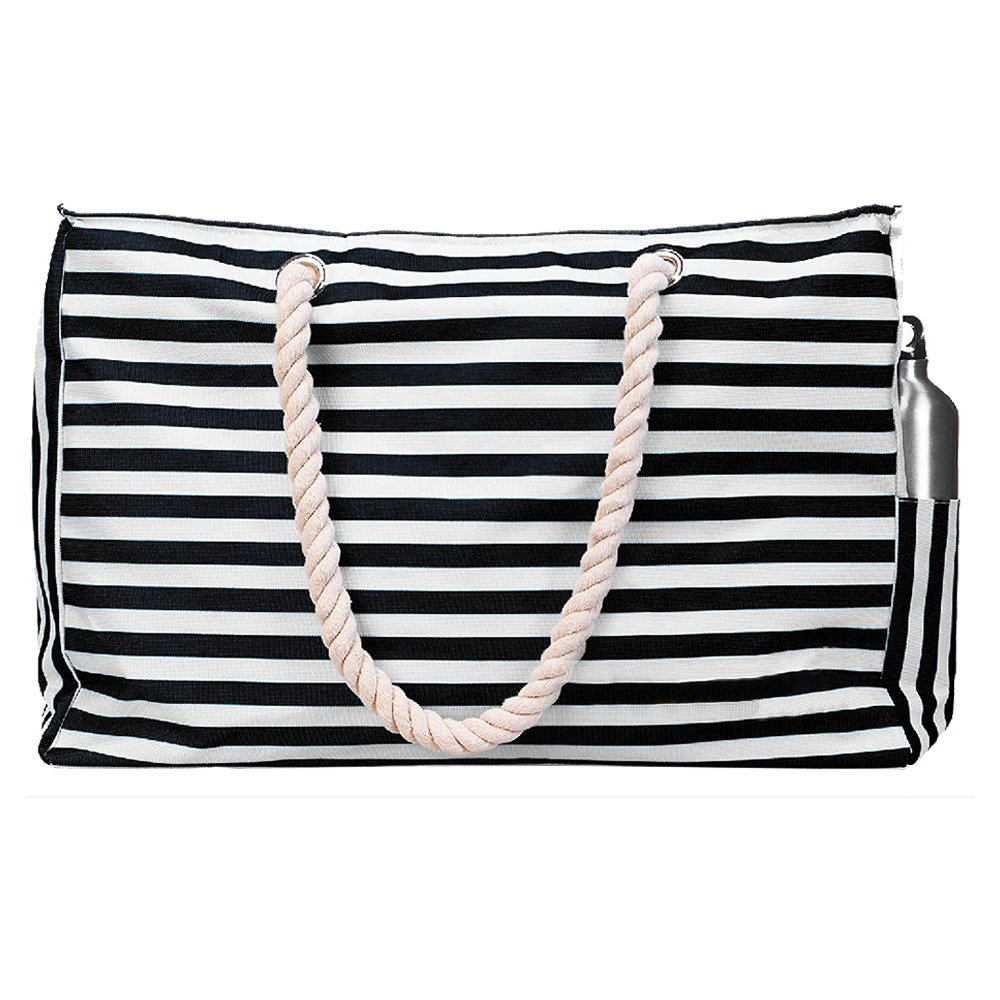 Beach Bag Tote XL (HUGE) with Zipper and Pockets. Extra Outside Pocket, Cotton Rope Handles,INCLUDES Removable Waterproof Phone Case,Key-holder,Bottle Opener.Durable & Comfortable Fabric (Black&White)