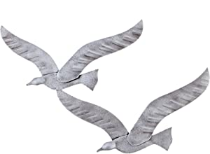 "Flying Seagull Birds, Handmade 3D Wall Art Decor, Silver Color, 30x49cm (11.8''x19.3"")"