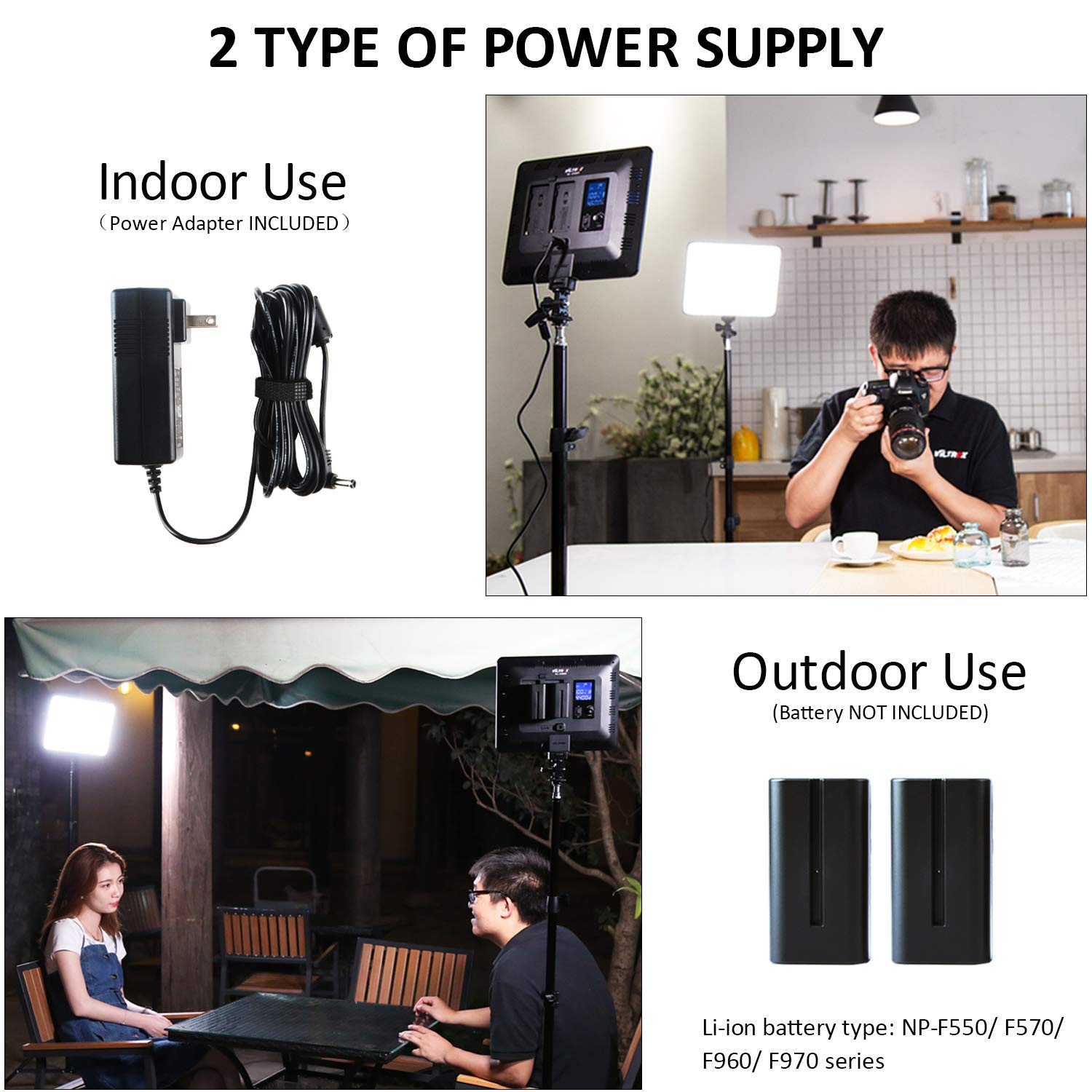 VILTROX 2-Pack VL-200 3300K-5600K CRI95 Super Slim LED Video Light Panel Photography Lighting Kit with Light Stand, Hot Shoe Adapter, Remote Controller, AC Adapter for YouTube Studio Video Shooting by VILTROX (Image #4)