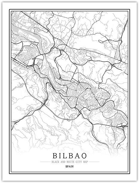 Impresión De Lienzo,España Mapa De La Ciudad De Bilbao Arte De Pared Blanco Y Negro Cartel Mural Fotos Pintura Minimalista Modular Simple Boceto Pop Vida Vertical Del Espacio De Oficina Decoración: Amazon.es: