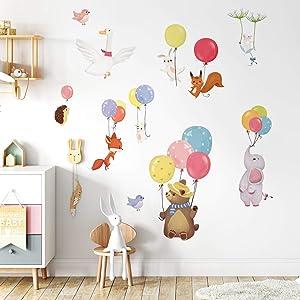 decalmile Colorful Balloon Flying Animals Wall Decals Elephant Bear Fox Wall Stickers Baby Nursery Kids Bedroom Classroom Wall Decor