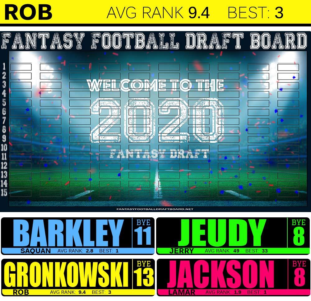 Draft Now Fantasy Football Draft Board 2020 Kit 6 Feet x 4 Feet Largest Fantasy Football Draft Board 2020 Kit with 500 Color Labels Fantasy Football Draft Board