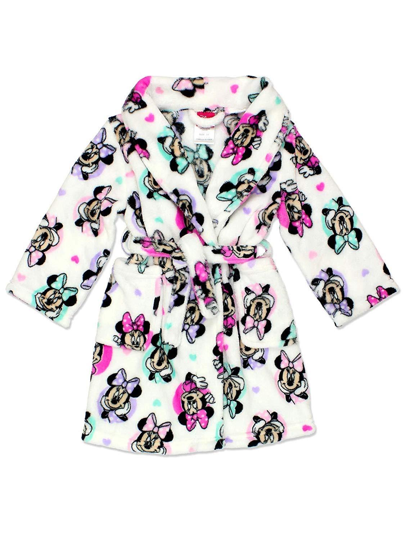 Minnie Mouse Girl's Plush Fleece Bathrobe Robe (10, White) Disney