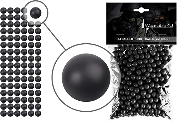 Wearable4U .50 Caliber Rubber Balls New Reusable Training Soft Rubber Balls for Paintball Guns