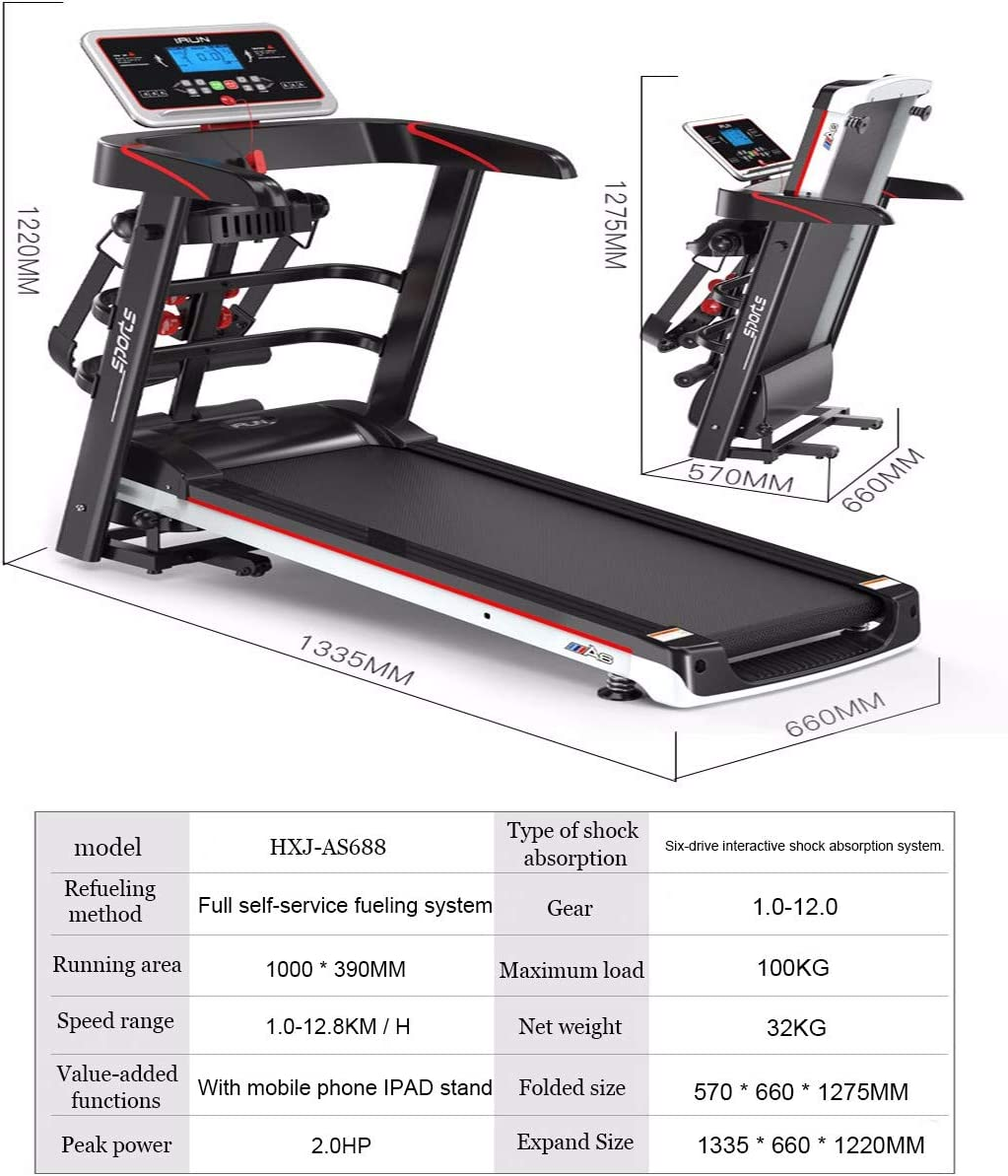 1.5 HP Quiet Motor JJGS Electric Treadmill Foldable Running Machines 12 Training Programs Cushioning System Up To 120kg Large Treads Versatile 12.8Km // H