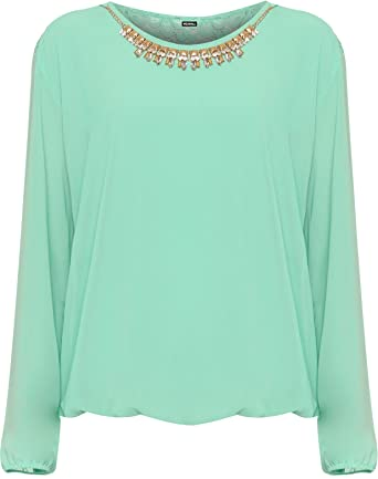 Roman Originals Womens Mint Green Floral Embroidered Top Sizes 10-20