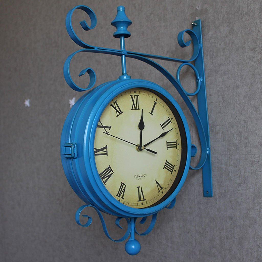 エッジへ 壁時計 両面レトロウォールクロック、アメリカ地中海スタイルのウォールクロック、オールドウォールクロック、アイアンメタルミュートリビングルーム時計 ( 色 : 青 ) B0785DL85C 青 青