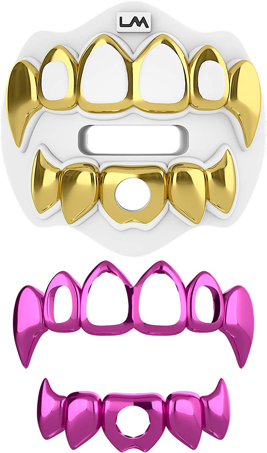 Loudmouth Football Mouth Guard | 3D Chrome Grillz Adult & Youth Mouth Guard | Mouth Piece for Sports | Maximum Air Flow Mouth Guards | Lip and Teeth Protector (3D Grillz - Chrome Black/Silver) : Sports & Outdoors