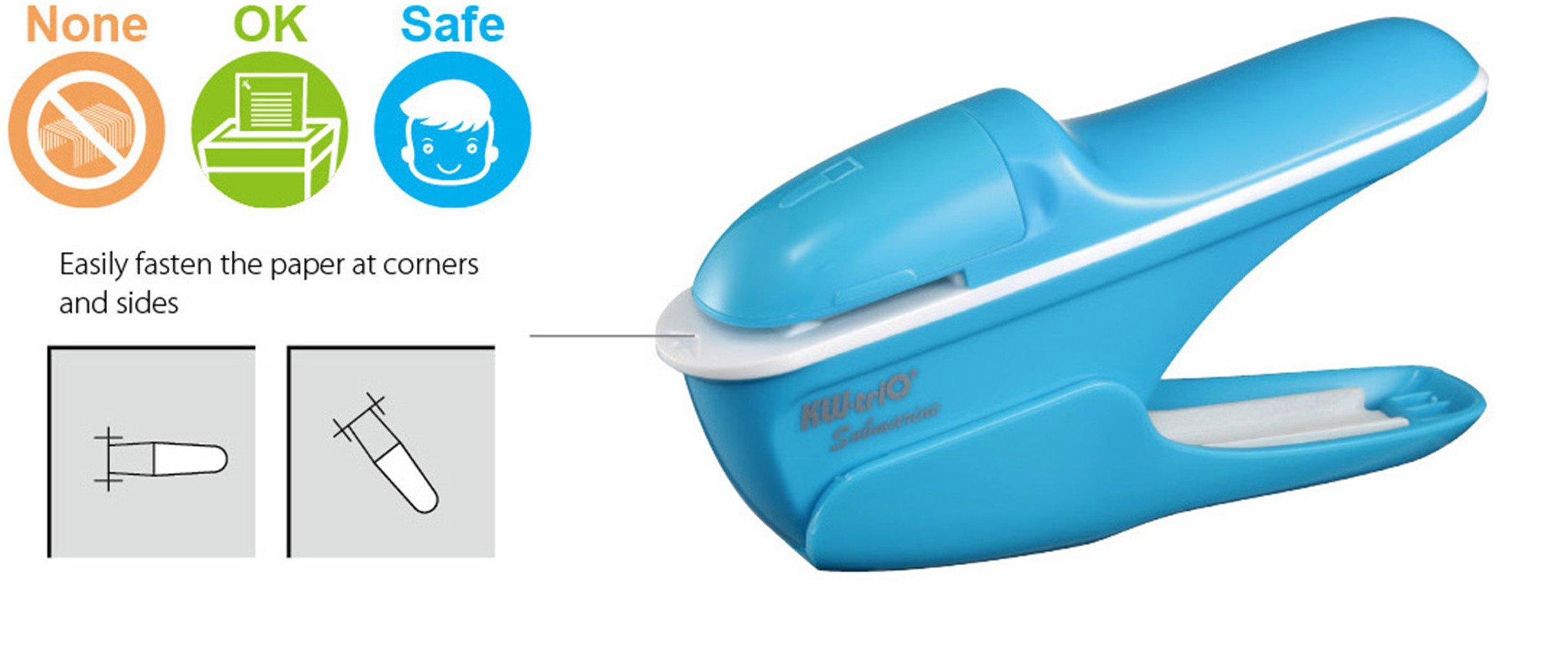 Submarine Staple Free Stapler - Environmental Protection Stapleless Stapler 8 Sheet Capacity for Kindergarten, Hospital, Office, Home