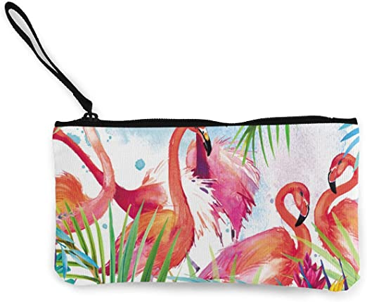 Coin Pouch Flamingo Canvas Coin Purse Cellphone Card Bag With Handle And Zipper