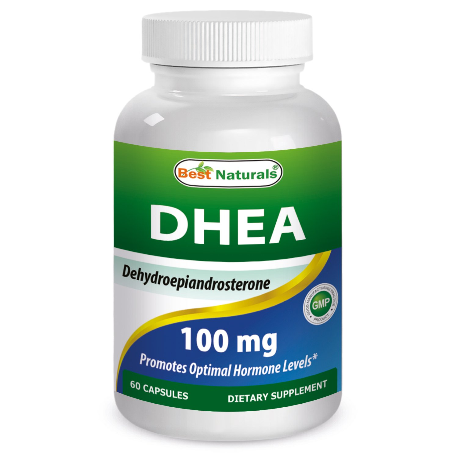 Best Naturals DHEA 100mg Supplement 60 Capsules - Supports Balanced Hormone Levels For Men & Women - Promotes Healthy Aging - USA Manufactured