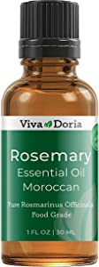 Viva Doria 100% Pure Moroccan Rosemary Essential Oil, Undiluted, Food Grade, 30 mL (1 Fluid Ounce)