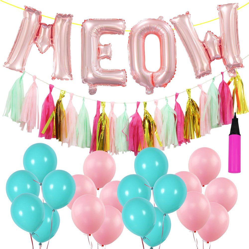 Amazon.com: 16 inch Meow Cats Birthday Decorations Set, 20 PCS ...