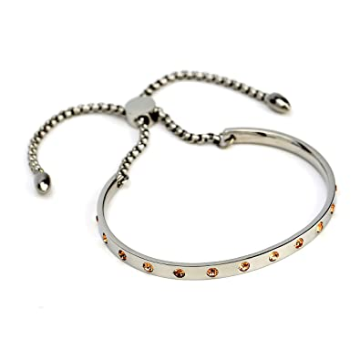 fbf5f73864 ... Bolo Bar Bracelet (up to 8) with Exquisite, Sparkling Champagne  Embedded Swarovski Style Crystals Online at Low Prices in India | Amazon  Jewellery Store ...
