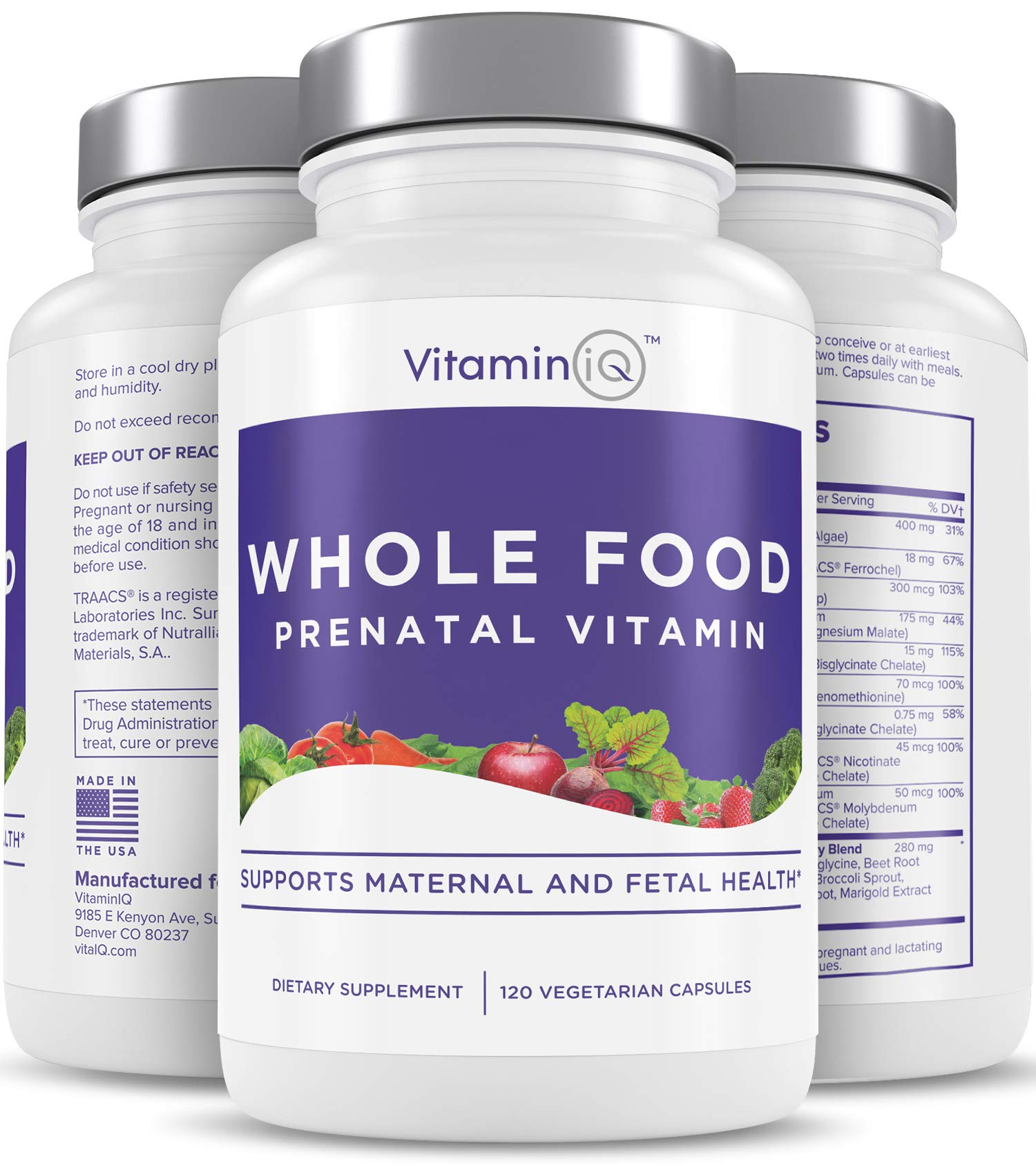 VitaminIQ Whole Food Prenatal Vitamins (120 Capsules) Natural Support for Maternal and Fetal Health, Prenatal Multivitamin for Women with Choline, B Vitamins and More, Vegan, No Soy, Gluten or Dairy