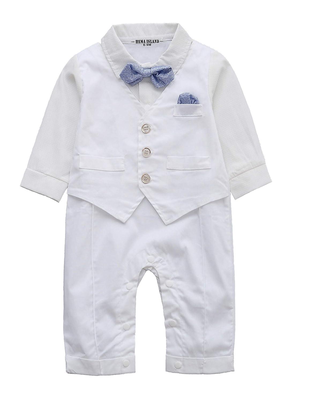 HeMa Island HMD Baby Boy Long Sleeve Gentleman White Shirt Waistcoat Bowtie Tuxedo Onesie Jumpsuit Overall Romper
