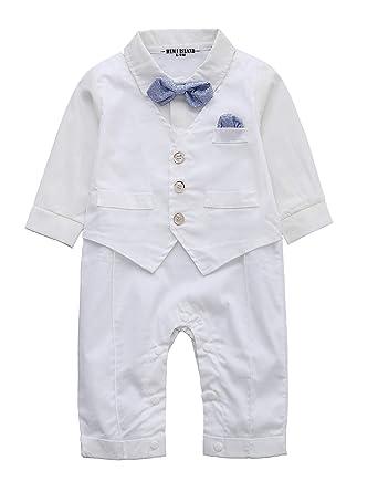 HeMa Island Chemise Blanche pour bébé garçon Manches Longues Gilet sans  Manches Smoking Formelle Robe Barboteuse f19b2c2bbb8