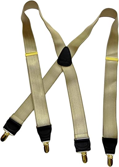 Men/'s X-back Style Gold Toned Metal Clip-ends Suspenders