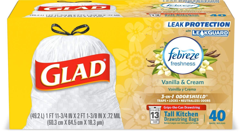 Glad Tall Kitchen Drawstring Trash Bags - OdorShield 13 Gallon White Trash Bag, Febreze Vanilla and Cream - 40 Count (Package May Vary)
