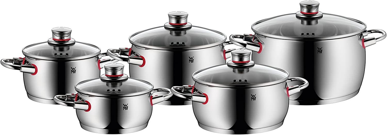 WMF Quality One Batería de Cocina (5 Piezas), Acero Inoxidable Pulido, 2 cazuelas y 3 ollas Altas