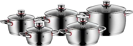 WMF olla-set 4-piezas quality one vapor apertura tapa de cristal Cromargan ® acero inoxidable