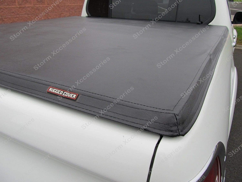 Black STX L200 Long Bed Double Cab Tri-Folding Fold Up Tonneau Cover//Canopy