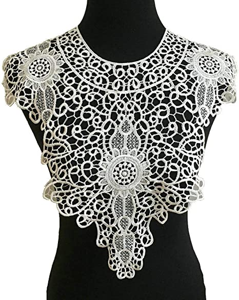 Lace Embroidered Venise Neckline Collar Trim Clothes Sewing Applique Patch