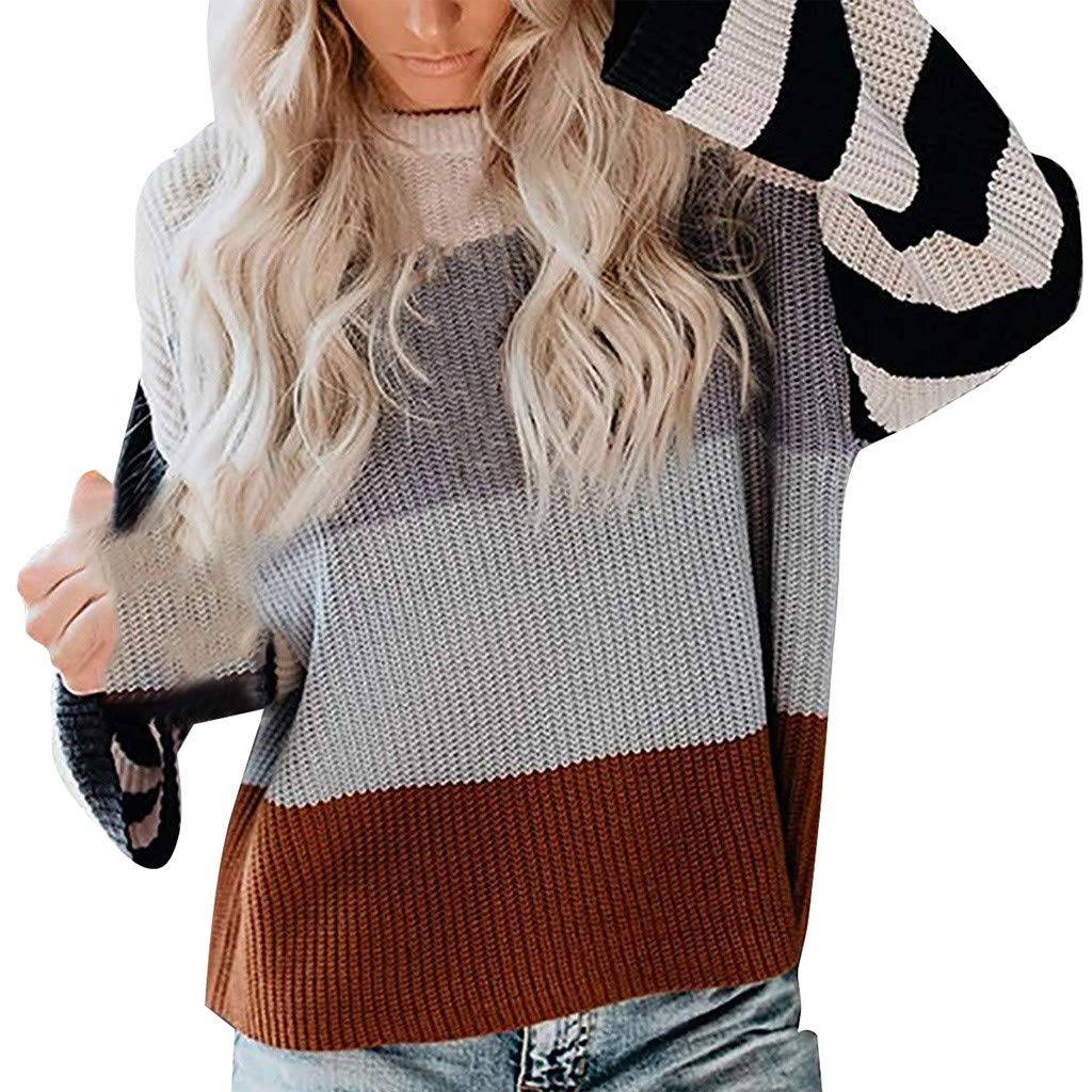 2020 Women's Long Sleeve Crew Neck Striped Color Block Oversize Loose Knitted Pullover Sweater Tops (US:10, Brown) by PLENTOP