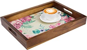 MyGift 16 Inch Elegant Acacia Wood Serving/Vanity Display Tray with Vintage Flower Floral Print and Wooden Handle