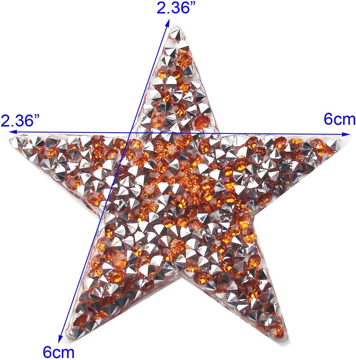 Adesivo ricamato con stelle ricamate Distintivo con strass confezione in cristallo Confezione da 5 pezzi